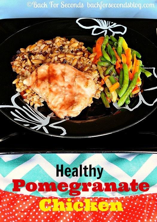 Healthy Pomegranate Chicken - great for busy nights! http://backforsecondsblog.com  #EatHonestly #pomegranate #chicken #shop