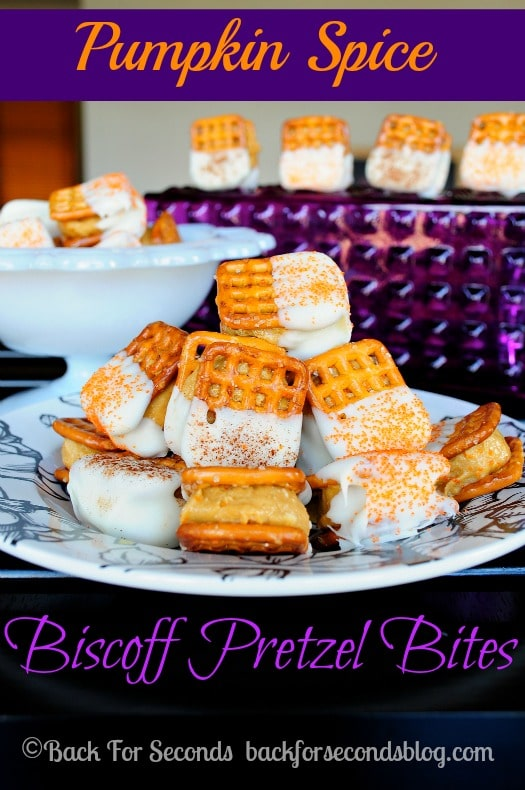 Pumpkin Spice Biscoff Pretzel Bites - Perfect for parties! All the flavors of Fall in an easy no bake bite! http://backforseconds.com  #pumpkin #biscoff #pretzelbites #pumpkinspice