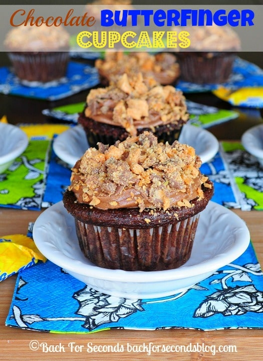 Chocolate Butterfinger Cupcakes - I declare these the best cupcakes on the planet! Everyone loves them! http://backforsecondsblog.com #butterfinger #cupcakes #candy #chocolate