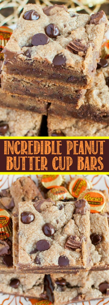 Get a double dose of peanut butter with this easy dessert - Peanut Butter Cup Bars! Chewy peanut butter cookie bars loaded with Reese's peanut butter cups!