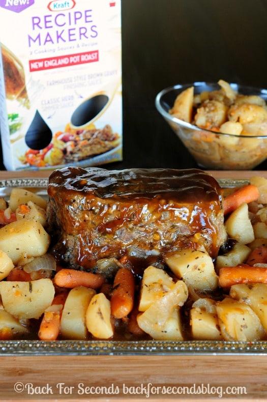 Easy Pot Roast Recipe made in the Crock Pot @Backforseconds #crockpot #easydinnerideas #potroastrecipe #kraftrecipemakers