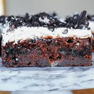 Marshmallow Oreo Fudge Cake