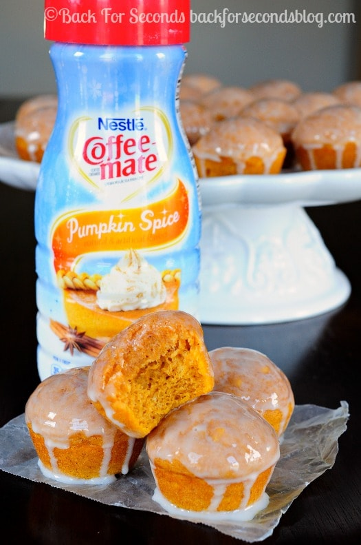 Glazed Cinnamoon Pumpkin Donut Muffins - These are insanely good and even low fat!!! @Backforseconds #pumpkin #lowfat #cinnamon #donut #muffins #shop