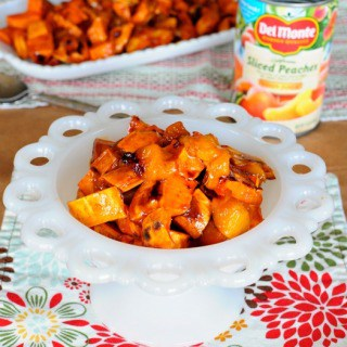 Maple Glazed Sweet Potatoes and Peaches and $100 Crate and Barrel Giveaway
