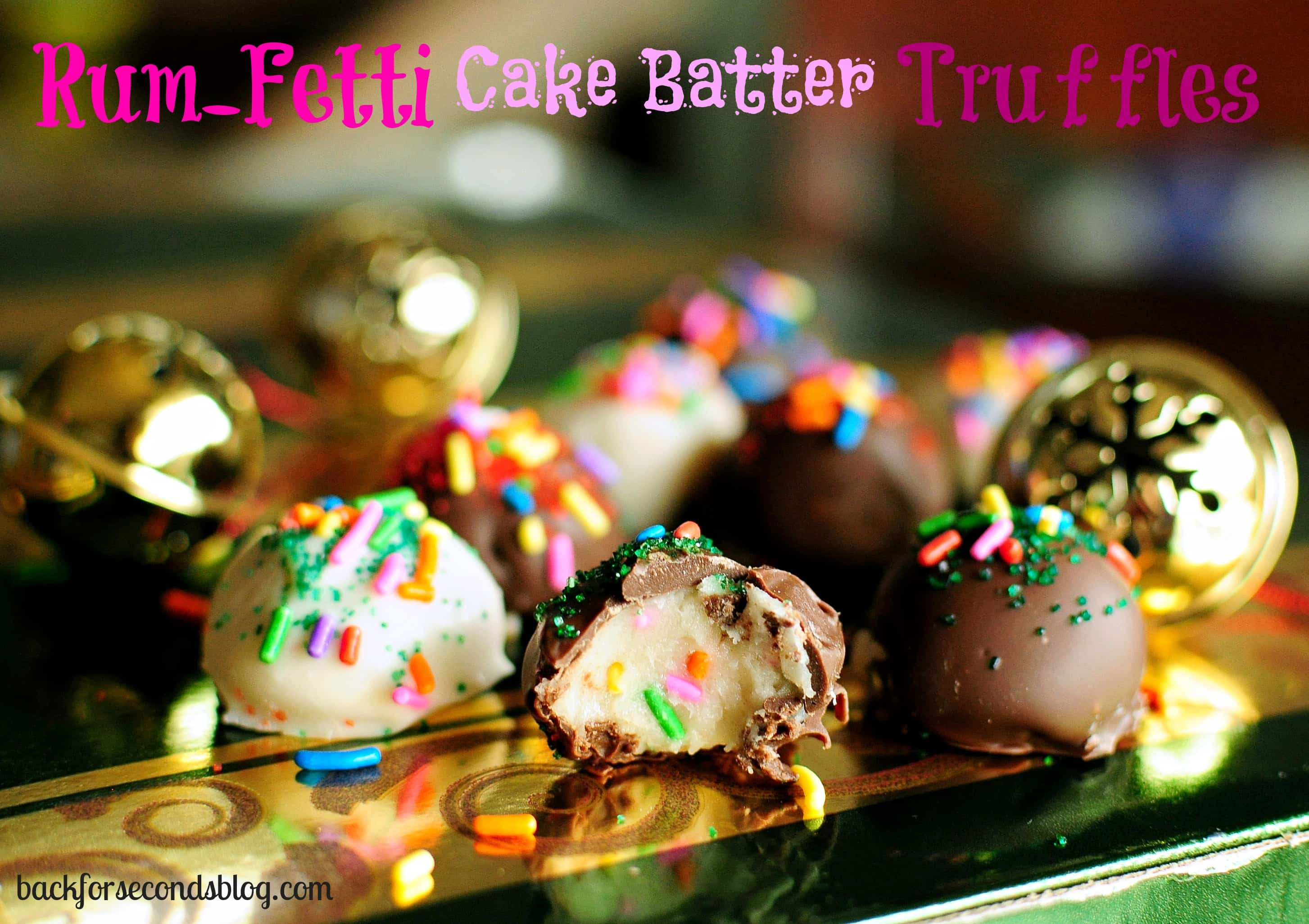Rum-Fetti Cake Batter Truffles - Easy no bake cake batter truffles made from scratch...with rum!! http://backforseconds.com #funfetti #cakebatter #truffles