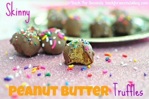 Skinny Peanut Butter Truffles @BackForSeconds