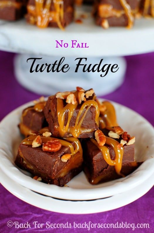 Easy NO FAIL Turtle Fudge - You can't mess this up and it's so impressive! https://backforseconds.com #fudge #chocolate #turtle #christmas