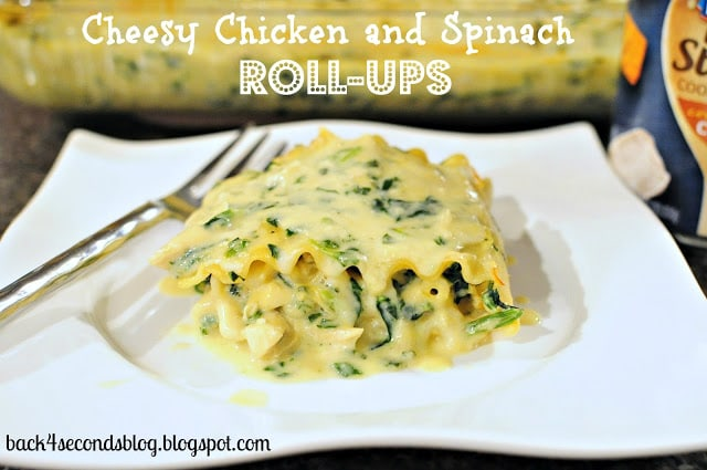 Cheesy Chicken and Spinach Roll Ups - An easy dinner everyone LOVES!! http://backforseconds.com  #chicken #pasta #cheese