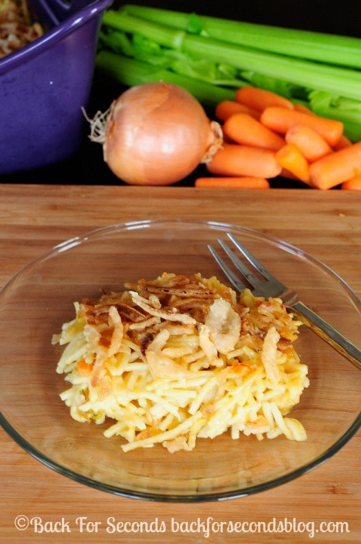 Creamy Chicken Noodle Casserole - sure to become a fmaily favorite! @backforseconds  #chicken #casserole #recipe