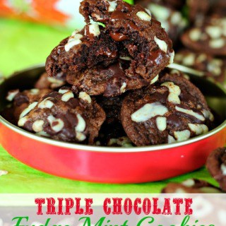 Triple Chocolate Fudge Mint Cookies