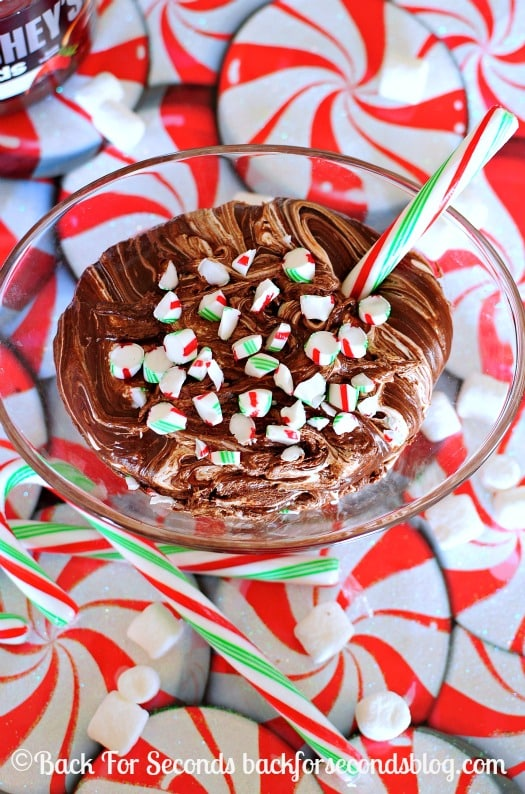 Chocolate Candy Cane DIp - 3 Ingredients, Gluten Free, and Crazy delicious!! http://backforsecondsblog.com #dip #christmas #candycanes #SpreadPossibilities #hersheysheroes