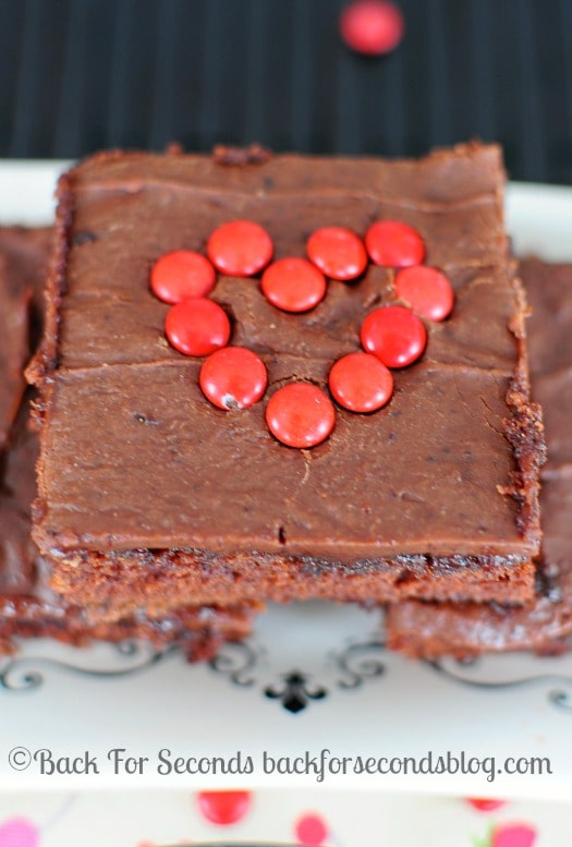 The BEST EVER Texas Sheet Cake - An easy, from scratch recipe that is out of this world! @backforseconds #chocolate #dessert #cake #valentinesday