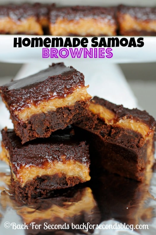 Easy Homemade Samoas Brownies - Every time I make these, I love them more! https://backforseconds.com #samoas #brownierecipe #dessert