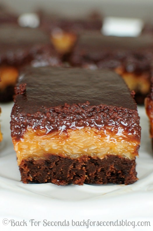 German Chocolate Brownies - Every time I make these, I love them more! https://backforseconds.com #samoas #brownierecipe #dessert