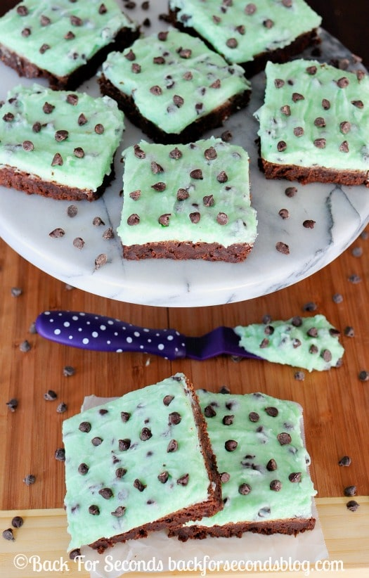 The BEST Fudge Brownies with Mint Chocolate Chip Frosting - all from scratch and so EASY!! #stpatricksday #dessert #mint #chocolate