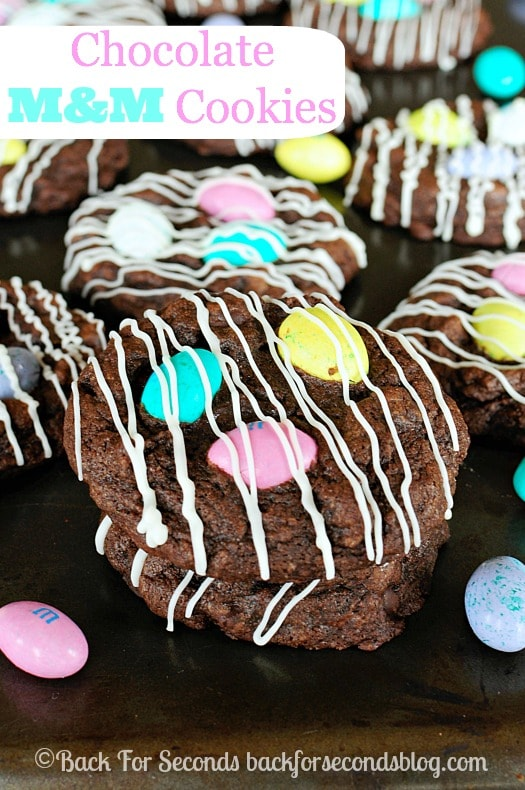 Chocolate M&M Cookies! Thick, soft, and chewy! http://backforsecondsblog.com #easter #chocolate #m&ms #dessert
