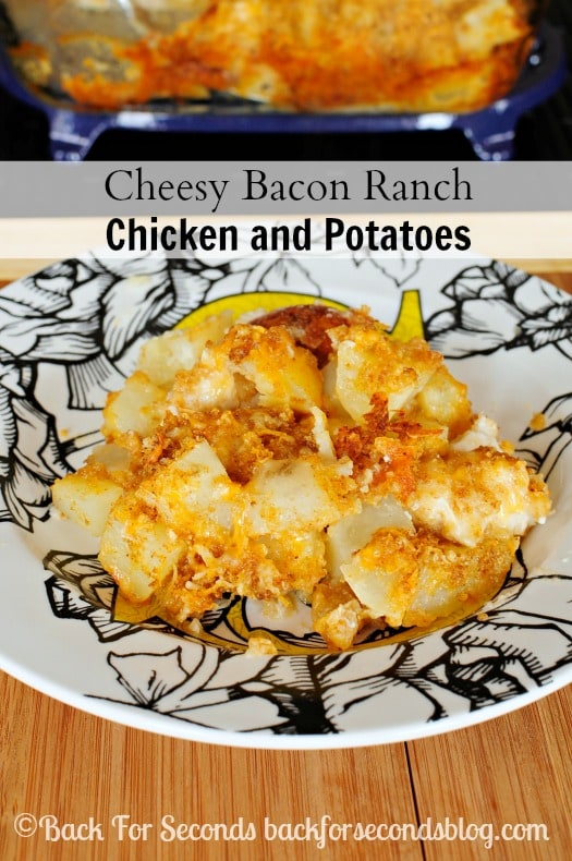 Cheesy Bacon Ranch Chicken and Potato Bake - Easy, delicious one dish meal!  #chicken #cheese #FreshTake #shop