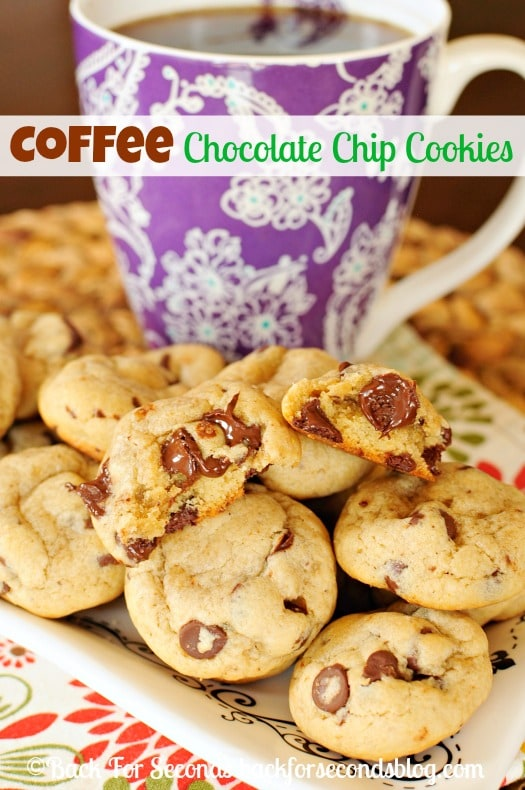 Coffee Chocolate Chip Cookies - Thick, Soft, and perfectly Chewy!  #cookies #coffee #chocolate