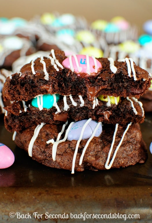 Chocolate M&M Cookies! Thick, soft, and chewy! http://backforseconds.com #easter #chocolate #m&ms #dessert