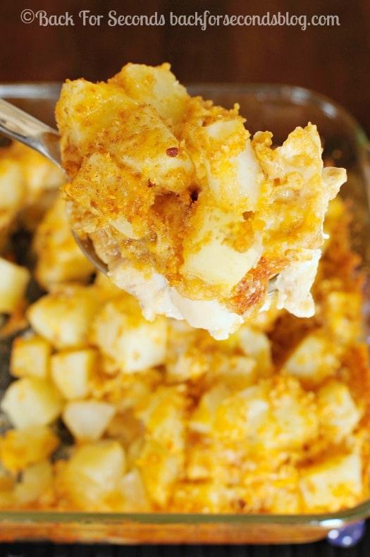 Cheesy Bacon Ranch Chicken and Potato Bake - Easy, delicious one dish meal!  #chicken #cheese #FreshTake #shop