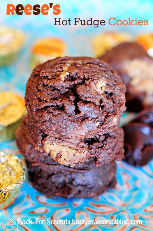 Thick and Chewy Reese's Hot Fudge Cookies!  Best cookie dough ever...the cookies are pretty stellar too! #reeses #chocolate #dessert #cookies