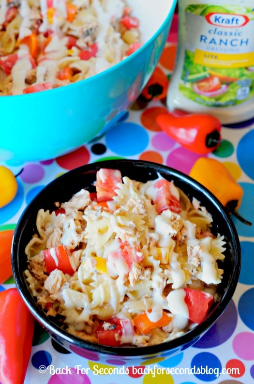 Easy Creamy Pasta Salad Supreme- Perfect light meal or side dish!  #pasta #easymeal #salad