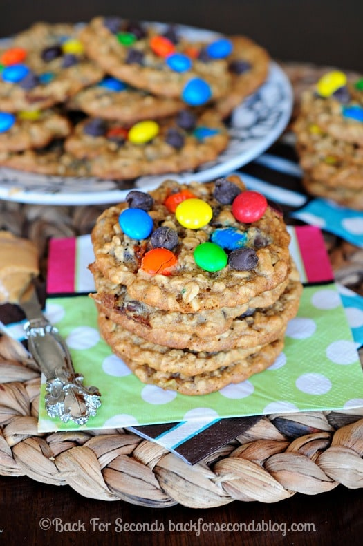 Zucchini Monster Cookies- You would NEVER know these have zucchini in them! They are AWESOME!! #monstercookies #zucchini #cookies