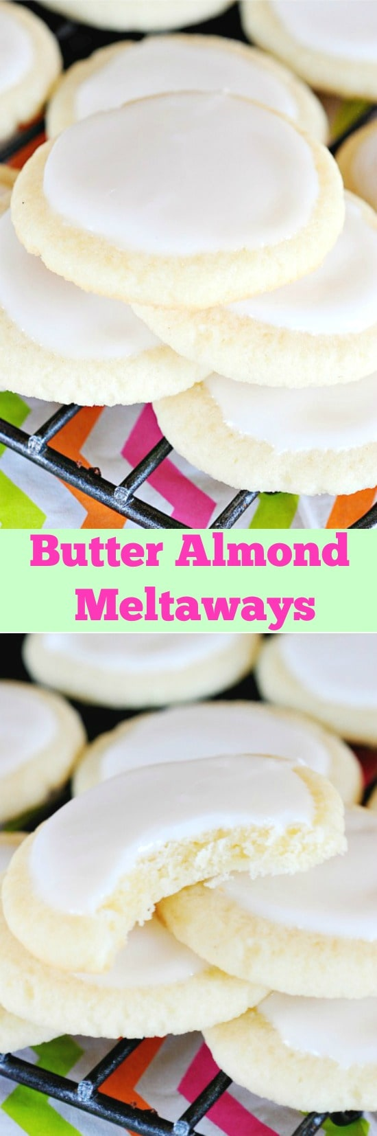 Butter Almond Meltaways are light, delicate, melt in your mouth cookies. The vanilla almond icing takes them up another notch! These are totally addicting!