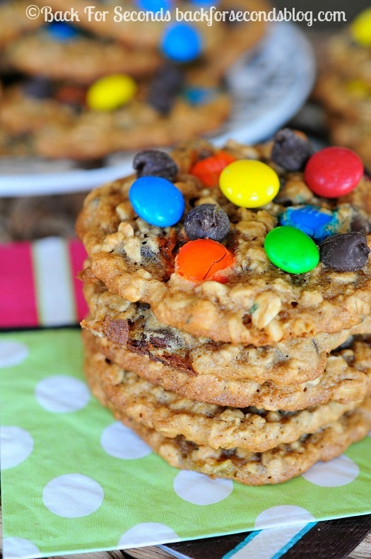 Zucchini Monster Cookie Recipe - You would NEVER know these have zucchini in them! They are AMAZING!! #monstercookies #zucchini #cookies