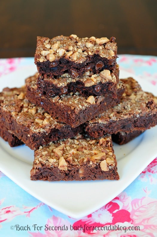 Double Chocolate Heath Bars - rich, fudgy, AMAZING! #heath #dessert #brownies