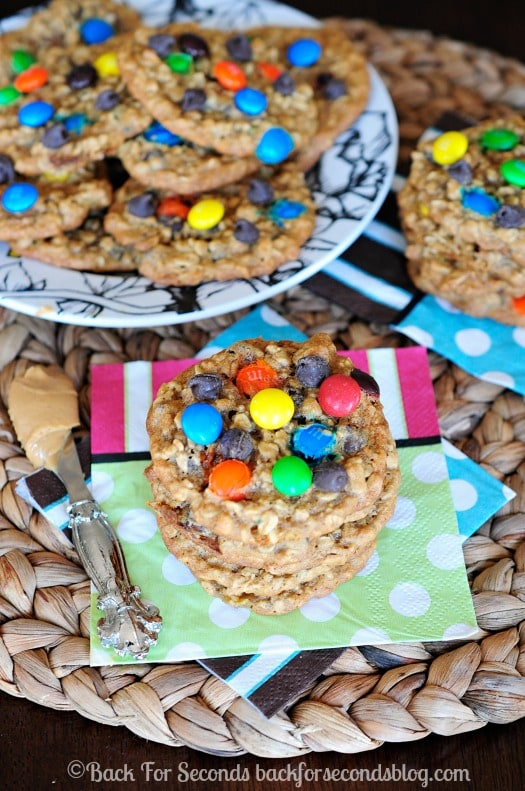 Zucchini Monster Cookies- You would NEVER know these have zucchini in them! They are delicious!! #monstercookies #zucchini #cookies