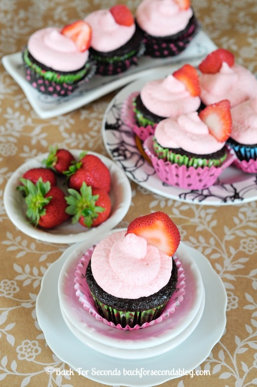 Chocolate Cupcakes with a KILLER Strawberry Frosting! #strawberry #chocolate #strawberryfrosting #dessert