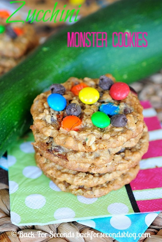 Zucchini Monster Cookie Recipe - You would NEVER know these have zucchini in them! They are delicious!! #monstercookies #zucchini #cookies