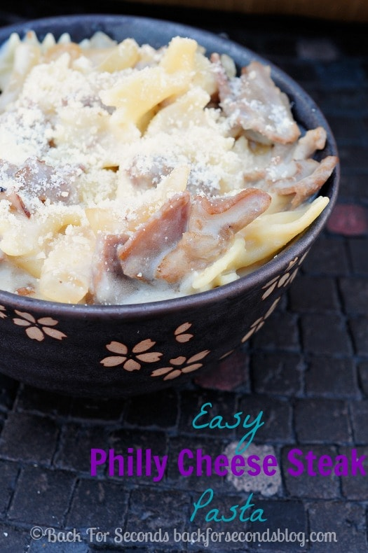 Philly Cheese Steak Pasta - a quick and easy dinner everyone will love! #pasta #cheese #beef