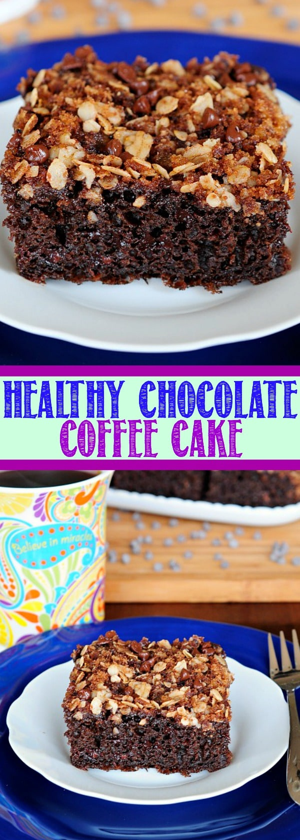 This Chocolate Coffee Cake is light and moist with a rich chocolate flavor and delicious streusel topping. Bonus! It's made with Greek yogurt and no butter!