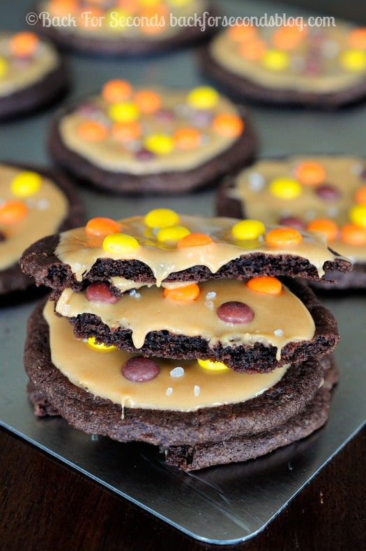 Chocolate Salted Caramel Reeses Cookie - soft, chewy, gooey cookie heaven!