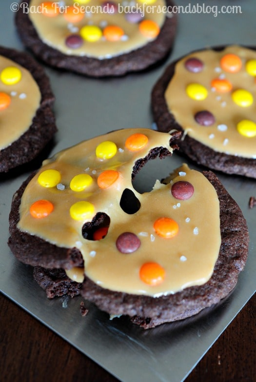 Halloween Cookie Idea - Chocolate Salted Caramel Reese's Cookies!