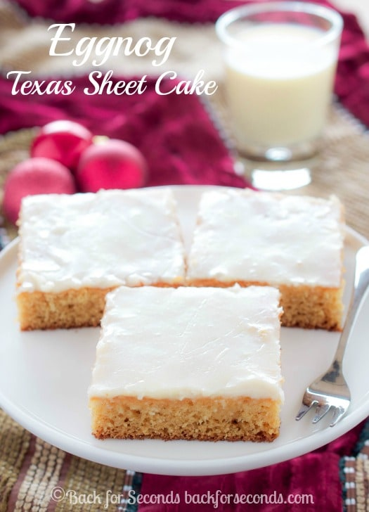Eggnog Texas Sheet Cake - great for holiday parties!