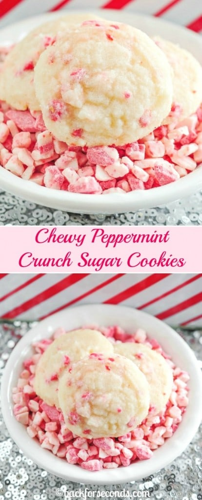Chewy Peppermint Crunch Sugar Cookies