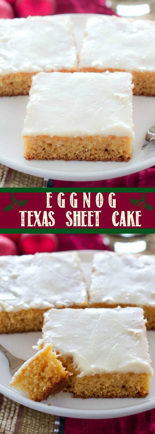 Need an easy dessert to bring to a holiday gathering? This Eggnog Texas Sheet Cake feeds a crowd and is amazingly delicious! The Eggnog icing is incredible!