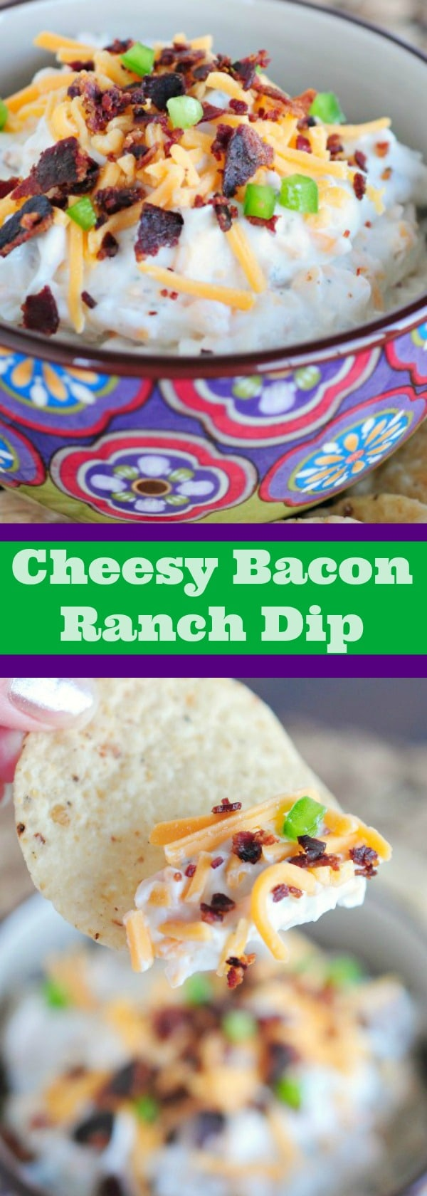 Cheesy Bacon Ranch Dip - 5 minute appetizer that no one can resist! Great for Game day too!-2