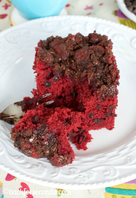 Red Velvet Coffee Cake with Chocolate Chip Streusel Topping