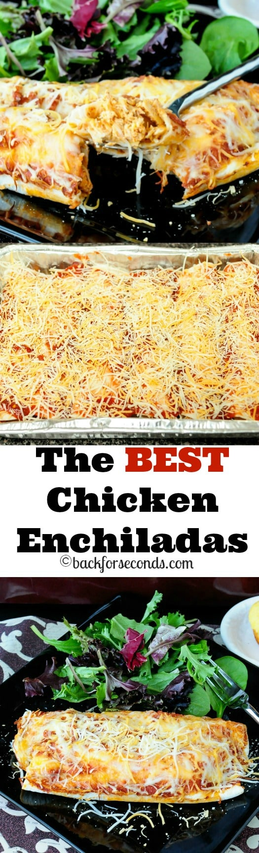 The BEST Chicken Enchiladas - creamy, cheesy and a family favorite!