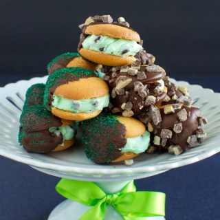 Chocolate DIpped Mint Chocolate Chip Sandwich Cookies FG