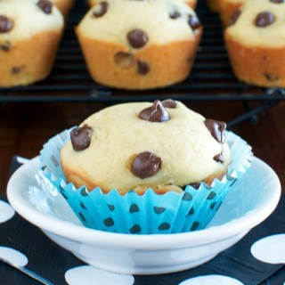 Light and Fluffy Chocolate Chip Muffins and Folgers Iced Cafe