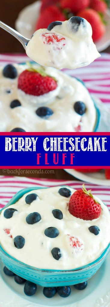 This Berry Cheesecake Fluff is the perfect no bake summer time dessert! It's cool, creamy, cheesecake fluff loaded with fresh blueberries and strawberries!