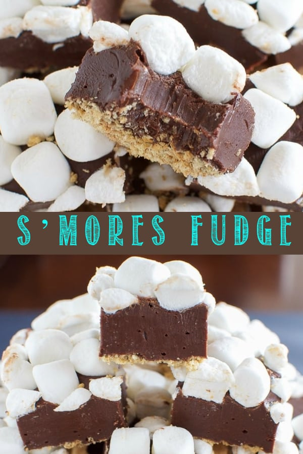 Easy No Fail S'mores Fudge is a fun new way to enjoy all the flavors of s'mores without a campfire! #fudge #nobakerecipe #smores #chocolate