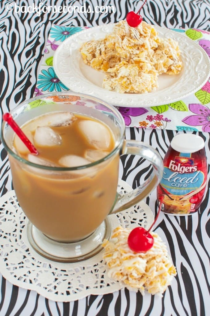 White Chocolate Pina Colada No Bake Cookies and Vanilla Iced Café #MyIcedCafe