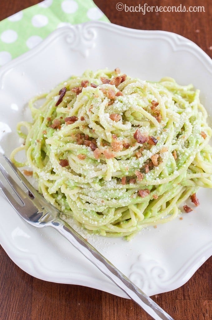 Creamy Avocado Bacon Pasta with Parmesan