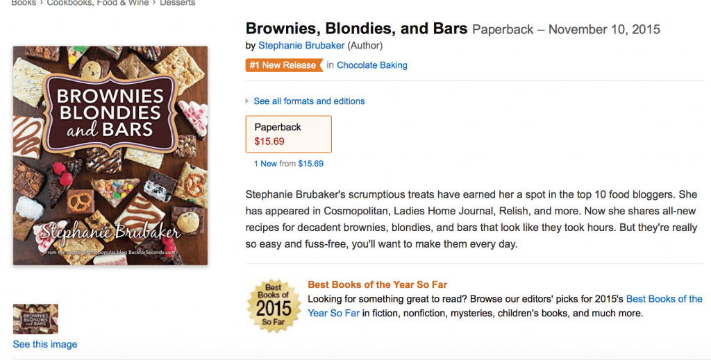 Brownies, Blondies, and Bars cookbook by Stephanie Brubaker #1 New release!